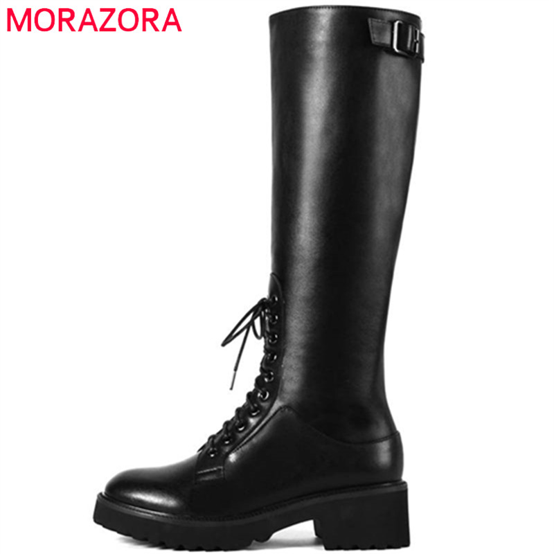 MORAZORA 2018 new arrival autumn winter knee high boots women zipper lace up round toe fashion boots square heels dress shoes
