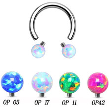 1pc Opal Stone Circular Barbell Ring Opal Horseshoe Labret Lip ring, Eyebrow ring Piercing Body Jewelry(China)