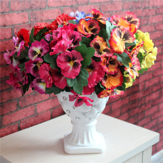 Hot Sale Pansy Artificial Flowers Plants Home Office Wedding Decor