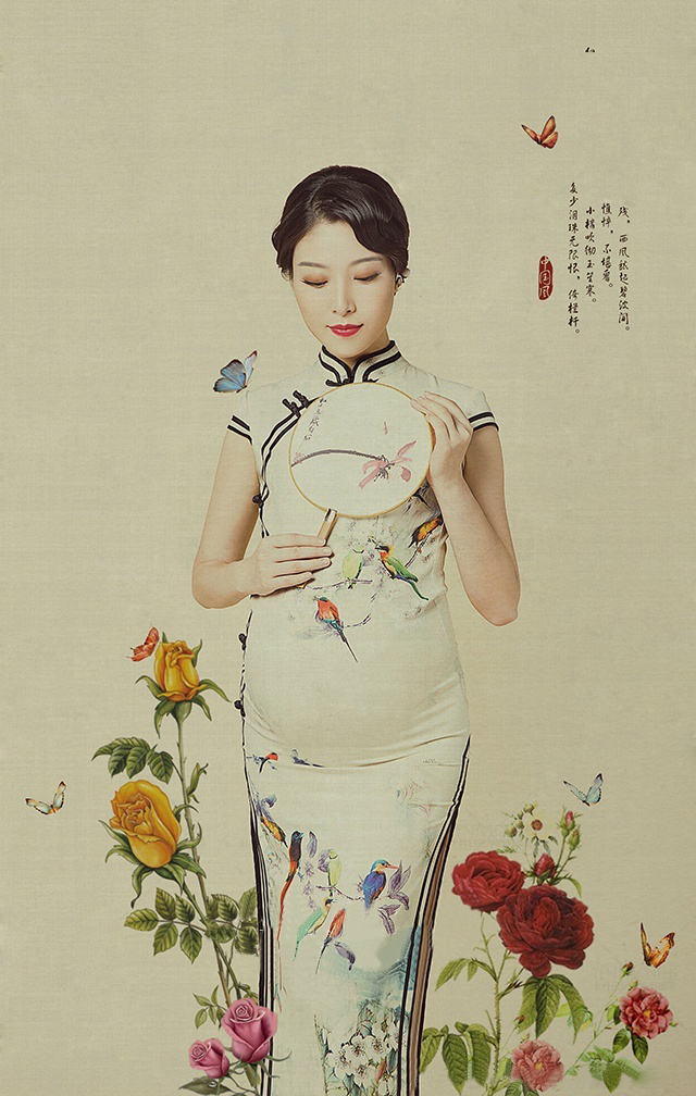 New Style Maternity photography props Photo Shoot pregnant dress Traditional Chinese Dress Women's Satin Long Cheongsam Qipao short modern cheongsam chinese dress robe vietnam ao dai chinese traditional dress chinese dress qipao chiffon
