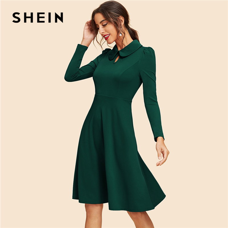 SHEIN Green Keyhole Front Flare Dress Vintage Cut Out Knee Length High Waist A Line Dresses Women 2019 Srping Party Dress