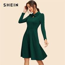 e664319f4896 SHEIN Green Keyhole Front Flare Dress Vintage Cut Out Knee Length High  Waist A Line Dresses Women 2019 Srping Party Dress