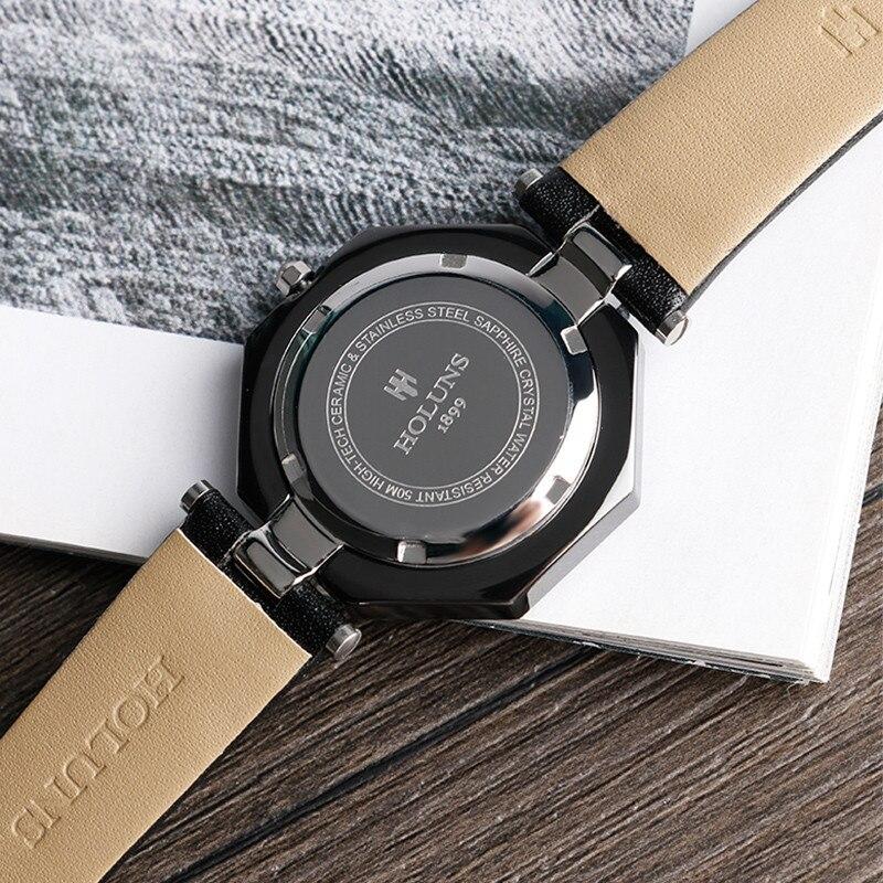 HOLUNS Elegant Watch Women's Wristwatch Ceramic Unique Ladies Watches Dress Rhinestones Fashion Clock relojes de las mujeres