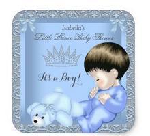 1.5 дюйма Маленький принц душа ребенка мальчик синий Дамаск игрушка 4 квадратных Стикеры