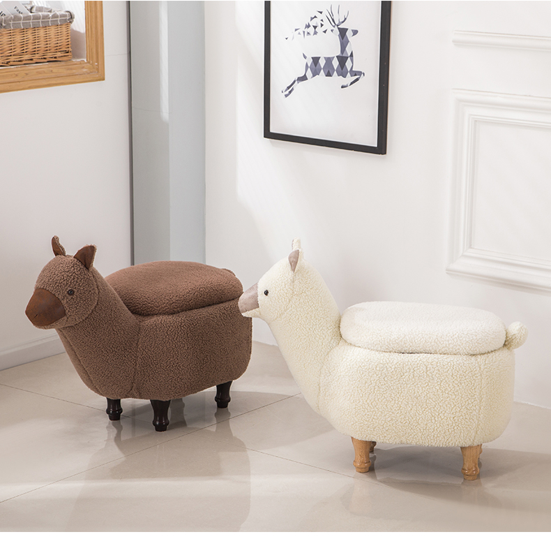Louis Fashion Stools Ottomans Cartoon Animal Sofa Alpaca Hall Storage Testing Shoes Modern Simple Shoes Home Furniture