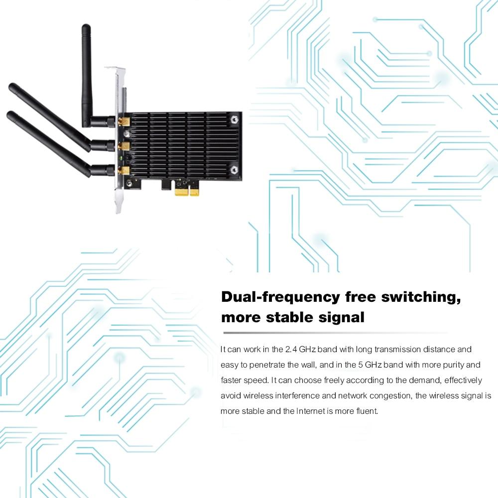 AC1900Mbps Wifi Gigabit Ethernet carte réseau PCI-e Wifi antenne adaptateur PCI sans fil double 2.4 GHz 5 GHz IEEE 802.11ac pour PC - 6