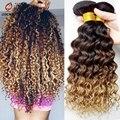 7A profundo peruano crespos tecer cabelo virgem, Peruano onda profunda Virgin cabelo humano Bundles1Pcs muito, Peruano Ombre cabelo vrigin