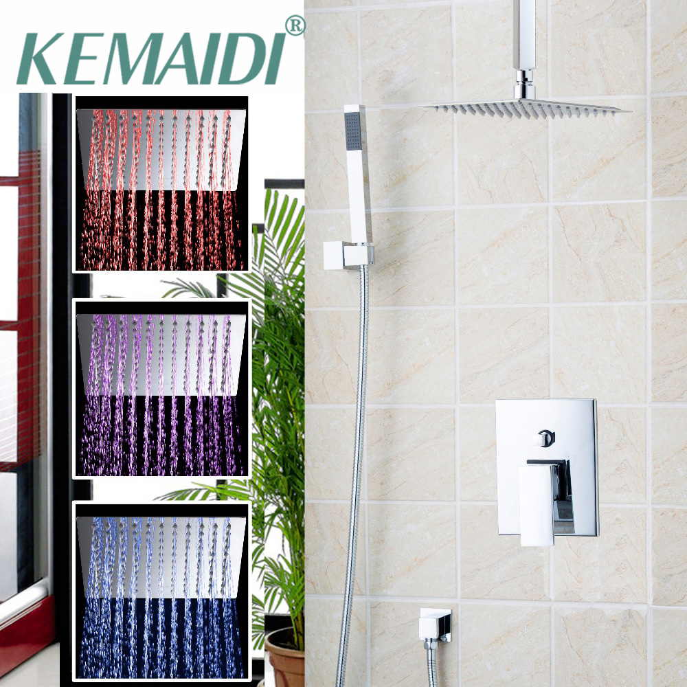 KEMAIDI 8 1216 LED Bathroom Bathtub Rainfall Shower Head Polished Wall Mounted Swivel  Mixer Tap Shower Faucets Chrome Finish new chrome finish wall mounted bathroom shower faucet dual handle bathtub mixer tap with ceramic handheld shower head wtf931