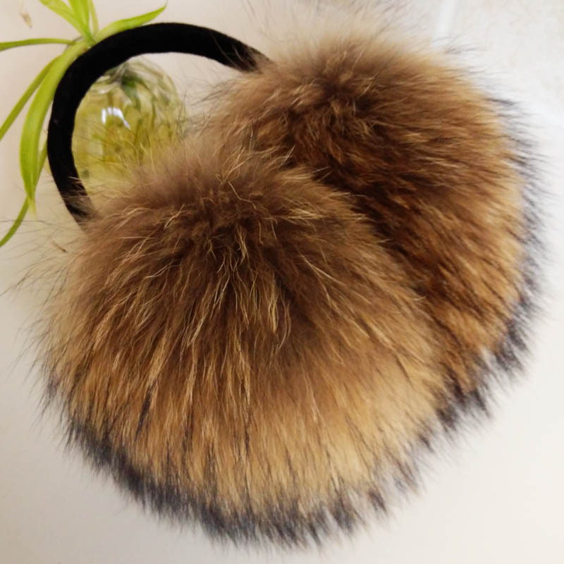 FXFURS Oversized Really Big Raccoon Fur Earmuffs Korean Real Fur Earmuffs Lovely Personality Plush Fur  Ear Cover  Warm