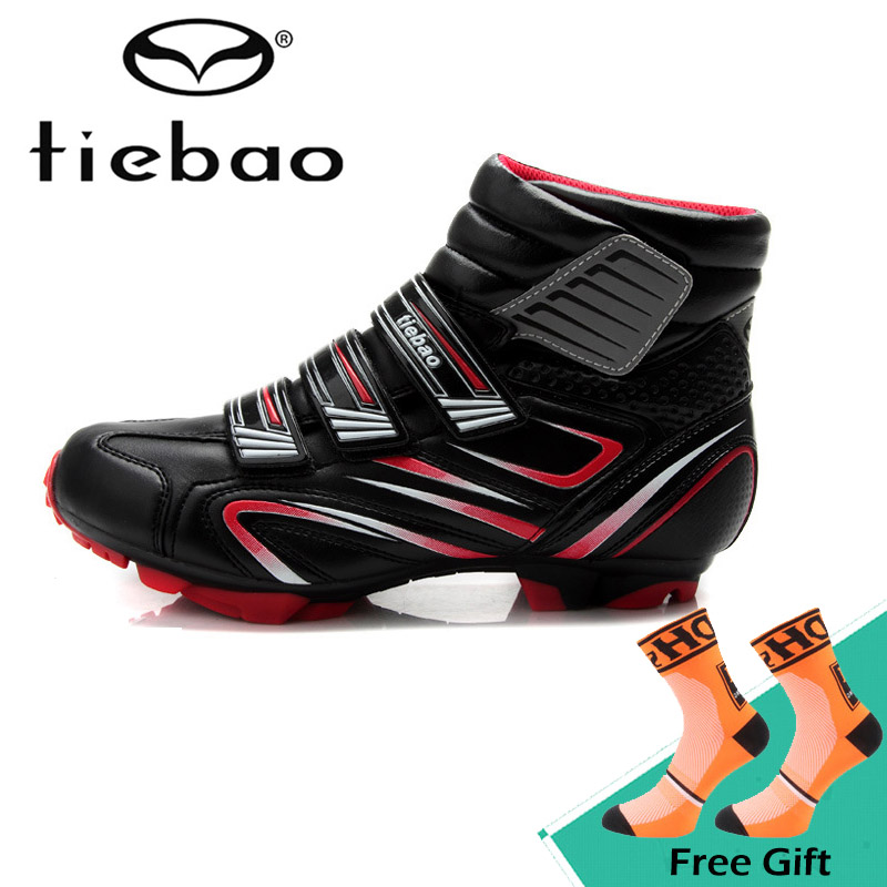 цены Tiebao Winter Men Soft Cycling Shoes Outdoor Warm Bike Bicycle Shoes Boots MTB Mountain Bike High Shoes Zapatos de ciclismo