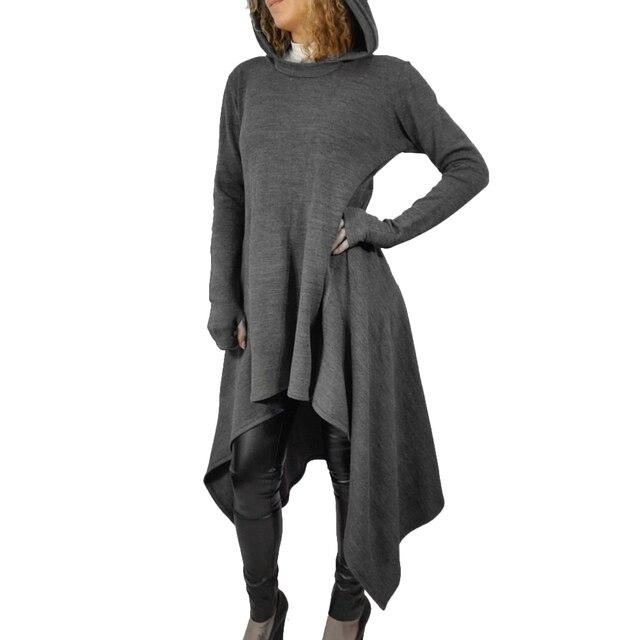 38401899075 Femmes à capuche gris robe asymétrique lâche longue gris robe à manches  longues automne hiver robes