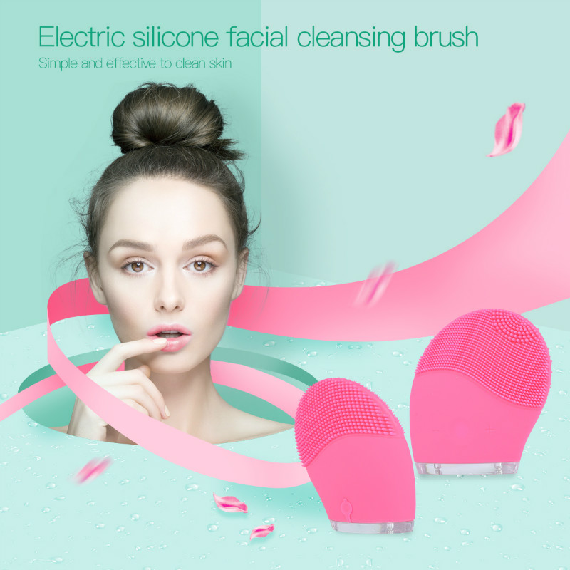 Waterproof Electric Silicone Facial Cleansing Massage Brush Sonic Vibration Face Brush Cleaner Massager face care tools beauty
