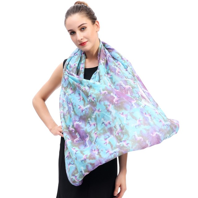 Lina & Lily Unicorns Galaxy Print Infinity Loop Scarf Women's Accessories
