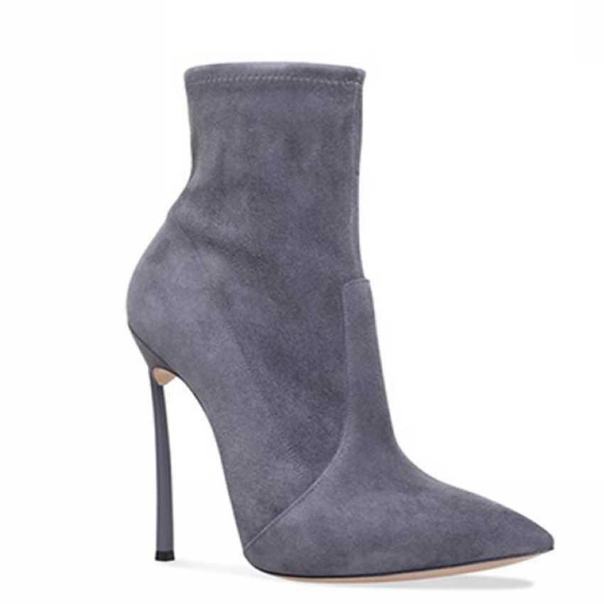 10.5 CM Yüksek Topuk yarım çizmeler Kadın Çorap Serseri Çizmeler Kar Kış Ayakkabı Kadın Sahte Süet Deri Çizme Kadın Ayak Bileği Kayışı ayakkabı Bayan