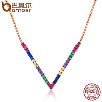 BAMOER 925 Sterling Silver Rose Gold Exquisite V Letter Pendant Necklaces For Women Colorful CZ Triangle