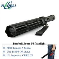 Powerful Led Flashlight Cree Xml T6 Portable Light Tactical Torch Baton Flash Light Self Defense 18650