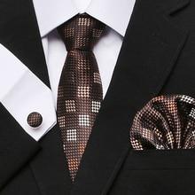 2019 New StyleMens Tie Stripe Silk Jacquard Necktie Men's Gift Hanky Cufflink Set Business Wedding Party Ties For Men himstory european gold brides tiaras crowns handmade leaf crystal headpieces wedding headbands accessory holiday hair jewelry