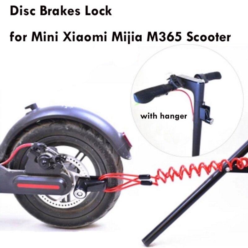 Portátil monopatín eléctrico de bloqueo de los frenos de disco de ruedas cerradura para Xiaomi Mijia M365 Scooter Skate Board Anti-robo de alambre de acero de Metal