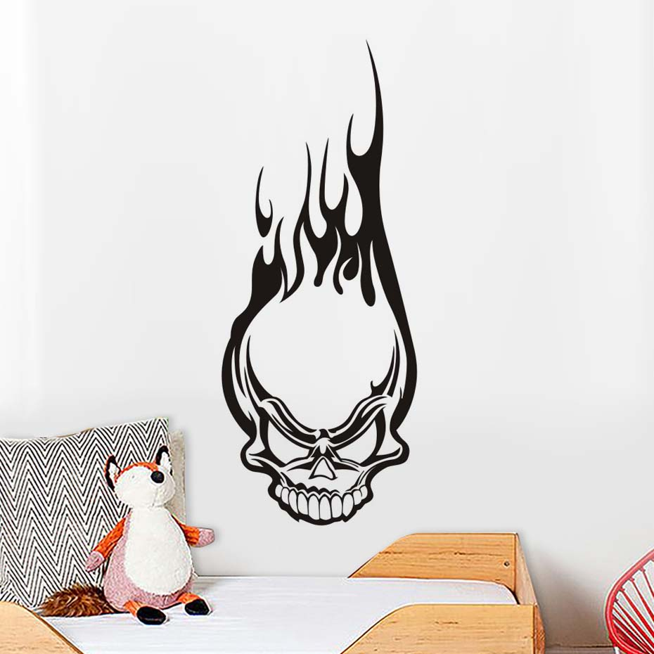Frame Protector Illustrated Adhesive Sticker Large Bicycle Decal Skull Theme