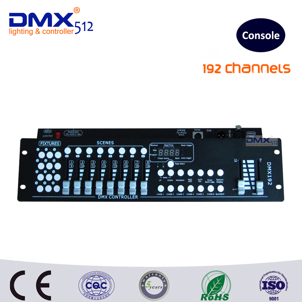 DHL Free shipping factory wholesale 192CH DMX controller console DJ lighting controller dj controller console 192 dmx controller dmx512 digital display 24ch dmx address controller dc5v 24v each ch max 3a 8 groups rgb controller