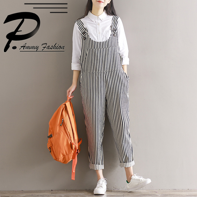 Vintage Oversized Striped Jumpsuit Dungaree Trousers Womens Loose Overalls Strap Trousers ...