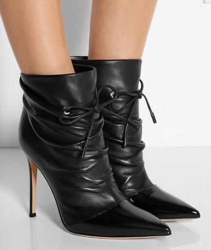 Spring and autumn woman black pointed toe high heel ankle boots Ladies pleated lace-up thin heel short boots Dress shoes women suede pointed toe high heel ankle boots spring and autumn super high thin heel short boots black red rose red short boots