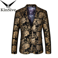 2018 New Fashion Men Suit Jackets Gold Jacquard Weave Blazer Luxry Lapel Party Stage Wear Perform Dress Slim Fit Formal Coat Man