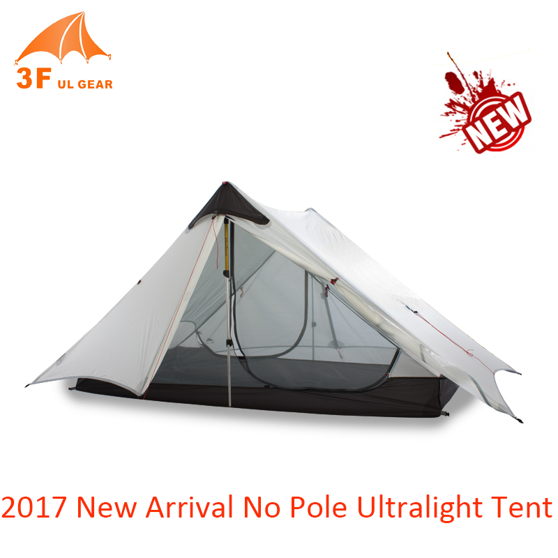 3F UL Gear 2017 New Arrival 1 Person 2 Person Ultralight Camping Tent Double Layer NO POLE Windproof Tents For Camping Hiking naturehike new arrival tent camping 2 person waterproof double layer outdoors camping durable gear picnic tents green grey