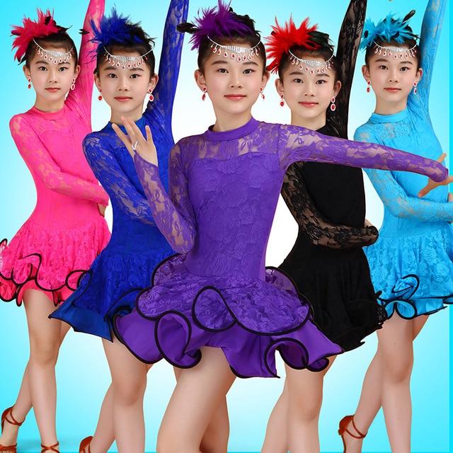 48b94becf Vestidos de baile de salón para niños Salsa Tango falda de la colmena del  niño del