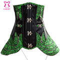 Green Brocade&Leather Bustier Sexy Steampunk Corsets And Bustiers Steel Boned Waist Trainer Underbust Corset Plus Size Korsett