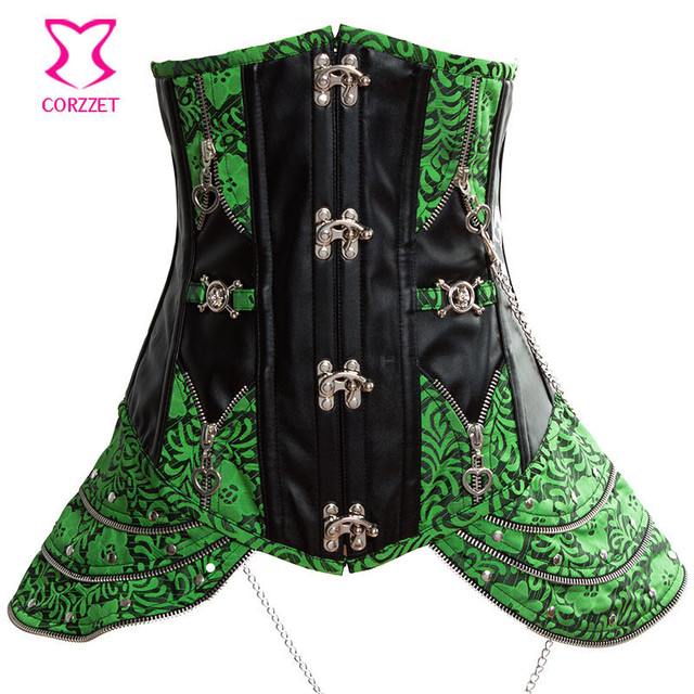 5b827fb98a Green Brocade Leather Bustier Sexy Steampunk Corsets And Bustiers Steel  Boned Waist Trainer Underbust Corset Plus Size Korsett