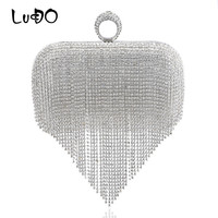 LUCDO Tassel Rhinestones Women Evening Bags Imitation Pearl Luxury Handbags Finger Ring Diamonds Small Party Wedding Clutches