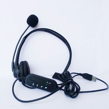 20pcs USB Wired Headphones with Mic call center computer customer service Headband headset for PC Laptop Skype Chat Gaming