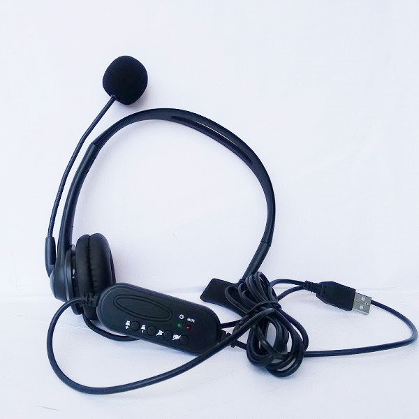 20pcs USB Wired Headphones with Mic call center computer customer service Headband headset for PC Laptop Skype Chat Gaming image