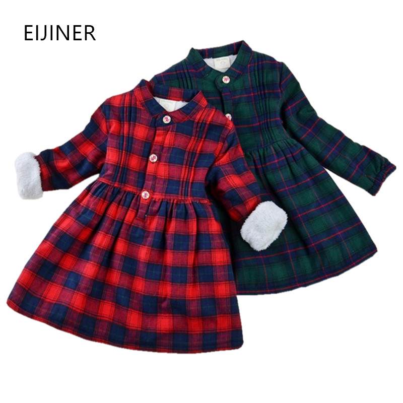 Thicken Velvet Girls Dresses Winter 2017 New Girls Clothes Cotton Long Sleeve Children Dresses Girls Clothing Plaid Kids Dresses цена
