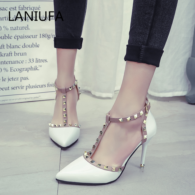 Classics woman High heels shoes Spring Ladies Sexy women Pointed pumps Toe Buckle rivets Pumps heels Dress shoes mujer #033Classics woman High heels shoes Spring Ladies Sexy women Pointed pumps Toe Buckle rivets Pumps heels Dress shoes mujer #033