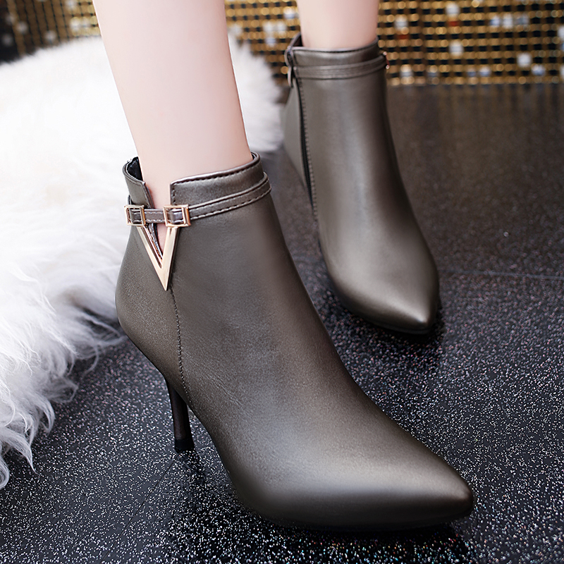 2016 New Arrival Women Ankle Boots Spring Autumn Genuine Leather Zipper Pointed Toe Sexy Lady High Heels Shoes Zapatos Mujer new arrival girl full leather boots spring autumn casual snow high top genuine leather boots women shoes a443