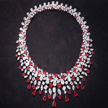 Collier Qi Xuan Trendy Jewelry Luxury Red Stones Wedding Party Necklaces S925 Solid font b Silver