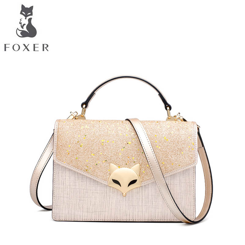 FOXER brand leather handbag 2018 New Shoulder Messenger Bag European and American fashion small party package handbag velvet bagthe european and american fashion small package pure color lock one shoulder inclined shoulder women2018messenger bag