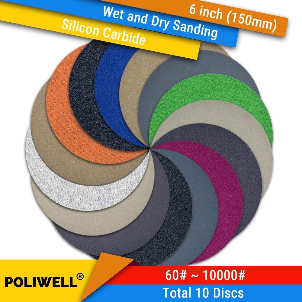 10PCS 6 Inch(150mm) Silicon Carbide Hook&Loop Waterproof Sanding Discs For Wet/Dry Sanding Round Abrasive Sandpaper