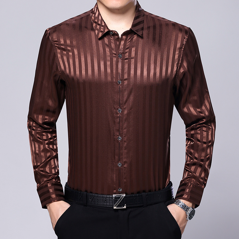 2017 new autumn spring mens silk shirt casual male for Long sleeve silk shirt dress