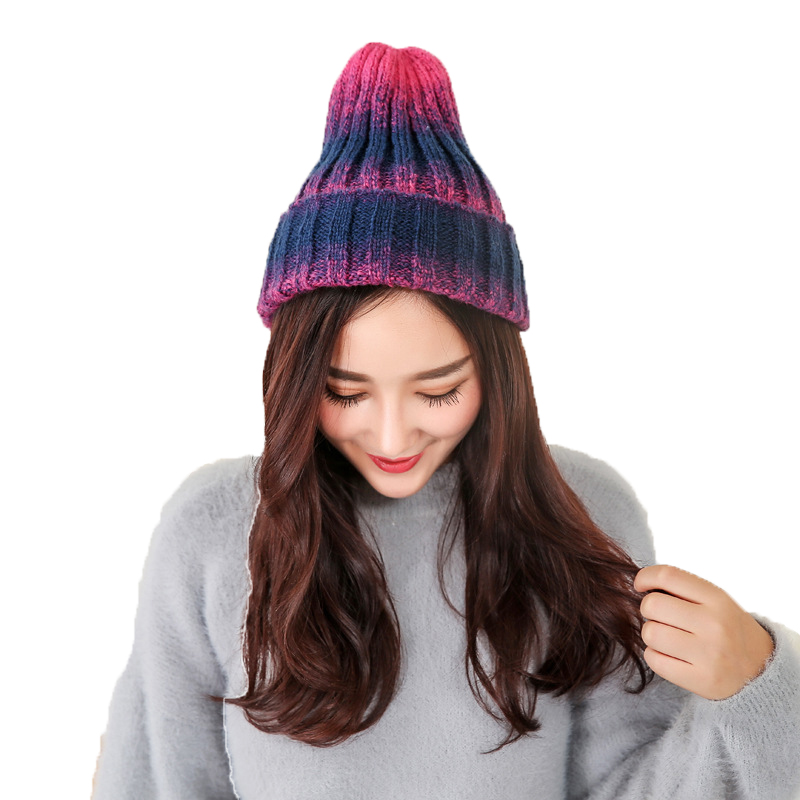 2017 New Arrival Autumn Winter Hats For Men Women Couples Knitted Hat Fashion Gradient Warm Wool Cap Unisex Skullies Beanies new arrival high quality elegant knitted hats for women rabbit fur cap autumn winter ladies female fashion skullies warm hat