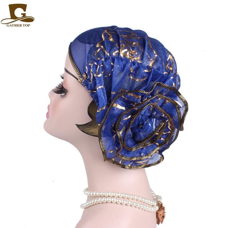 Vrouwen Elegante koning Bloem Elastische Mesh Tulband Cap Chemo - Kledingaccessoires