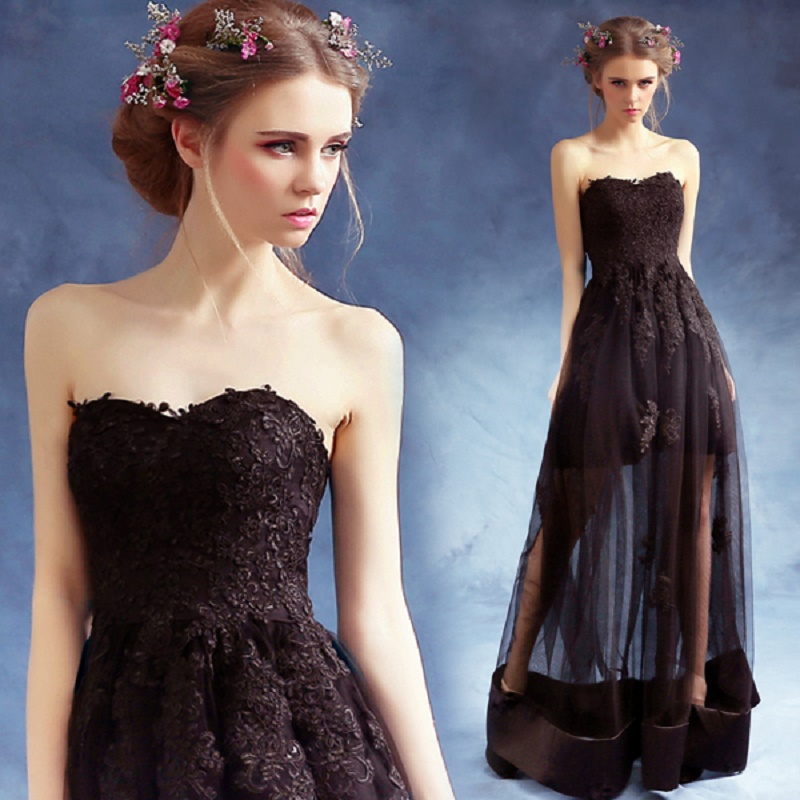 2018 new stock plus size women pregnant   bridesmaid     dresses   wedding party A line lace sweetheart sexy romantic cheap black   dress