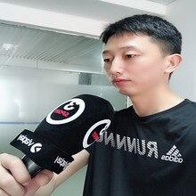 Linhuipad custom עיתונאי ראיון מיקרופון שמשות קצף מיקרופון כף יד שמשה קדמית עם הדפסת לוגו בתוך קוטר: 4 סנטימטר