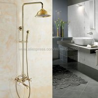 Shower Faucets Luxury Gold Bathroom Rainfall Shower Faucet Set Mixer Tap With Hand Sprayer Wall Mounted Kgf383