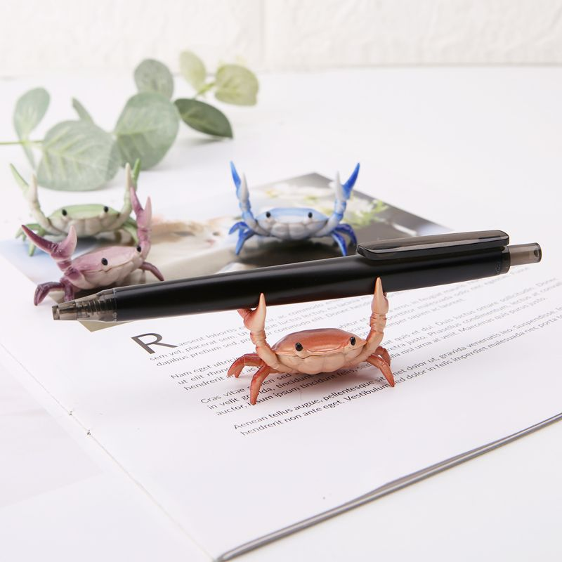 New Japanese Creative Cute Crab Pen Holder Weightlifting Crabs Penholder Bracket Storage Rack Gift Stationery