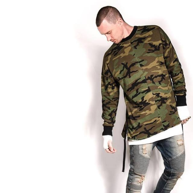 086683e4 hip hop justin bieber clothes street wear kpop urban clothing mens long  sleeve longline shirt swag clothes camouflage
