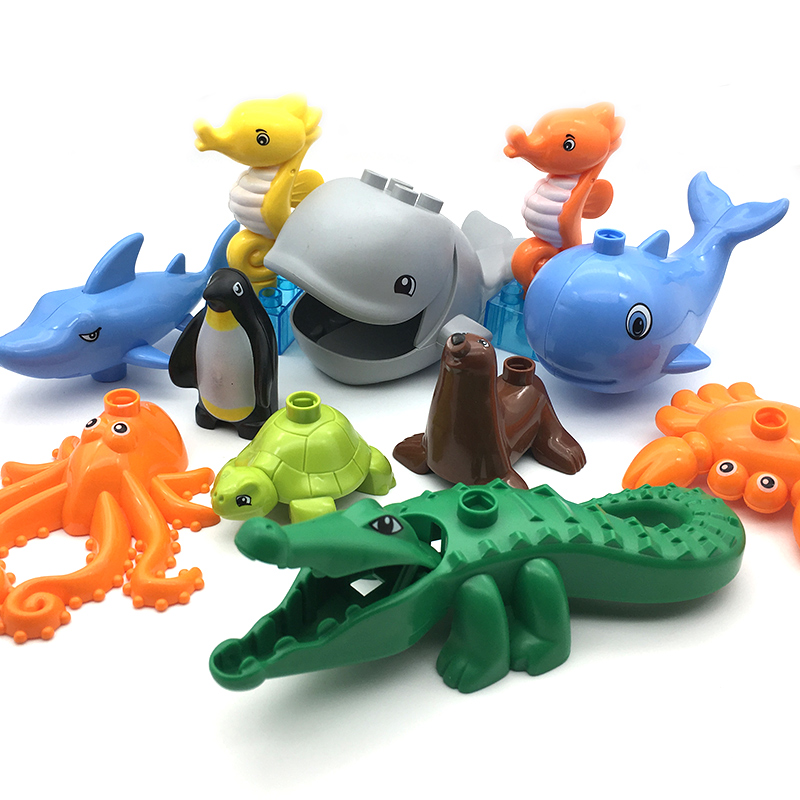 Big size Building Blocks DIY accessory children Toys Compatible with Duplo ocean Animals zoo Bricks penguin whale crocodile fish forest park plant tree leaf model big particles building blocks toys set bricks diy accessory child gift compatible with duplo