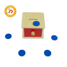 Montessori Kids Toy Preschool Training Wood High-Quality Coin Box